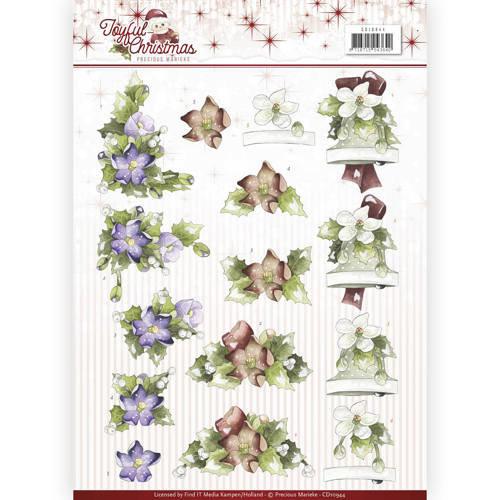 Precious Marieke CD10944 - 10 stuks knipvellen - Precious Marieke - Joyful Christmas - Christmas rose