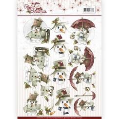 CD10942 - 10 stuks knipvellen - Precious Marieke - Joyful Christmas - Snowman