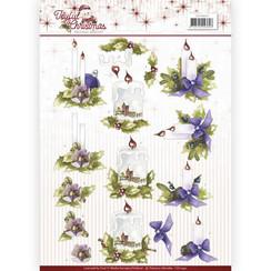 CD10941 - 10 stuks knipvellen - Precious Marieke - Joyful Christmas - Christmas candles