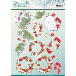 CD10970 - 10 stuks knipvellen - Jeanines Art- winter classics- Winterberries