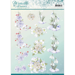 CD10969 - 10 stuks knipvellen - Jeanines Art- winter classics- Snow flowers