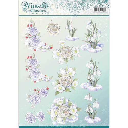 Jeanines Art CD10969 - 10 stuks knipvellen - Jeanines Art- winter classics- Snow flowers