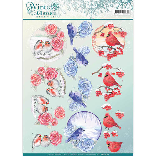 Jeanines Art CD10968 - 10 stuks knipvellen - Jeanines Art- winter classics- Christmas Birds