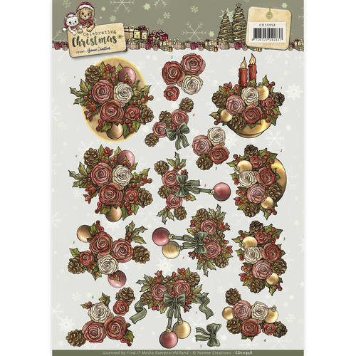 Yvonne Creations CD10958 - 3D Knipvel  - Yvonne Creations - Celebrating Christmas- Flowers