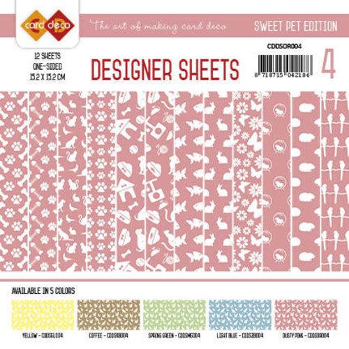 Amy Design CDDSOR004 - Card Deco - Designer Sheets -  Sweet Pet-Oudroze