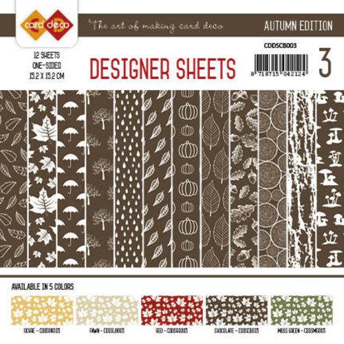 Yvonne Creations CDDSCB003 - Card Deco - Designer Sheets - Autumn Colors-Chocoladebruin