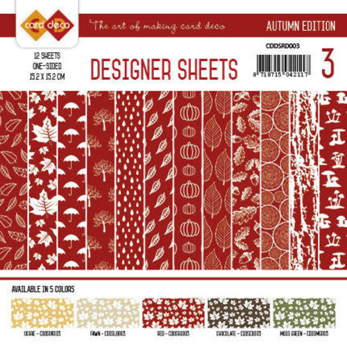 Yvonne Creations CDDSRD003 - Card Deco - Designer Sheets - Autumn Colors-Rood