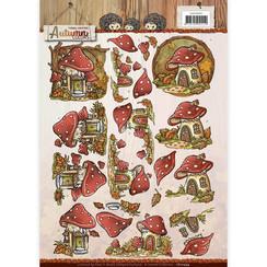 CD10949 - 10 stuks knipvellen - Yvonne Creations - Autumn Colors - Mushrooms Houses