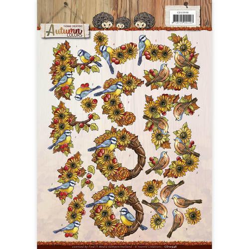 Yvonne Creations CD10948 - 10 stuks knipvellen - Yvonne Creations - Autumn Colors - Autumn Birds