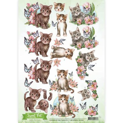 Amy Design CD10961 - 10 stuks knipvellen - Amy Design - Sweet Pet- Cats