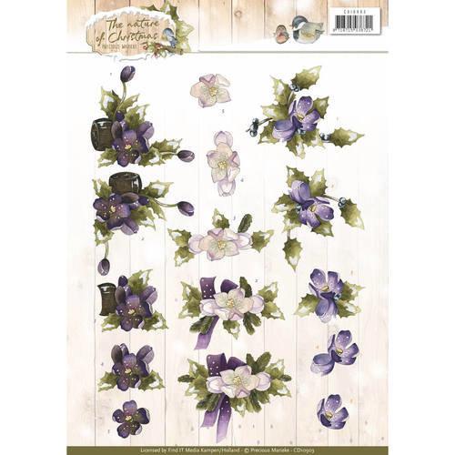 Precious Marieke CD10903 - 10 stuks knipvellen - Precious Marieke - The Nature of Christmas - Christmas Flowers