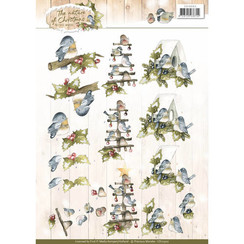 CD10902 - 10 stuks knipvellen - Precious Marieke - The Nature of Christmas - Christmas Birds