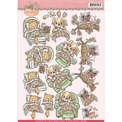 CD10900 - 10 stuks knipvellen - yvonne creations - Get Well Soon - ill animals