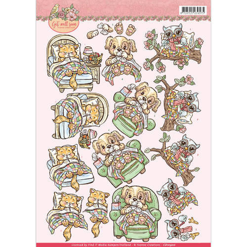 Yvonne Creations CD10900 - 10 stuks knipvellen - yvonne creations - Get Well Soon - ill animals