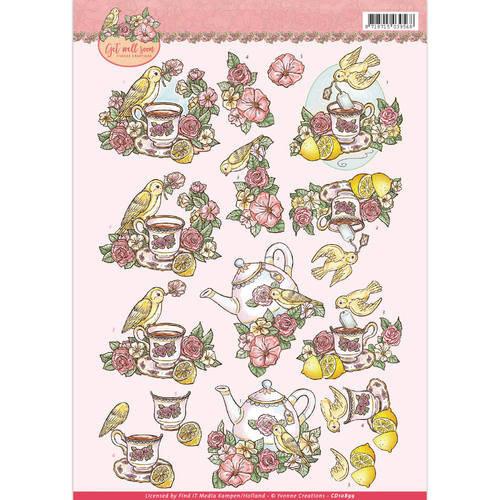 Yvonne Creations CD10899 - 10 stuks knipvellen - yvonne creations - Get Well Soon - lemon tea