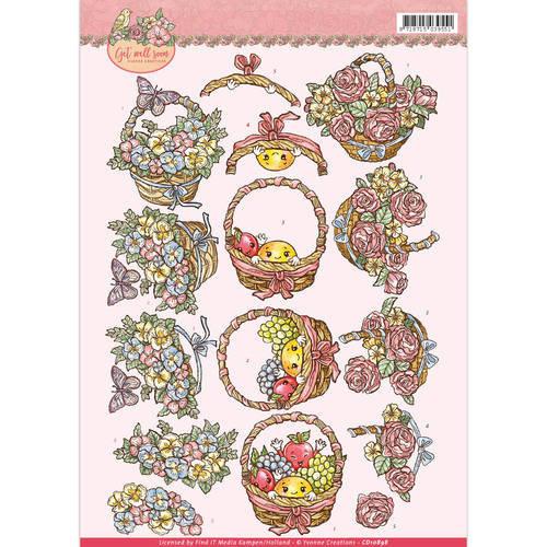 Yvonne Creations CD10898 - 10 stuks knipvellen - yvonne creations - Get Well Soon - fruit basket