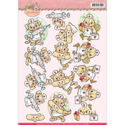 CD10897 - 10 stuks knipvellen - yvonne creations - Get Well Soon - animal nurses