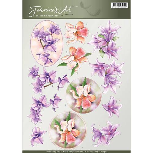 Jeanines Art CD10915 - 10 stuks knipvellen - Jeanines Art- With Sympathy -Sympathy Flowers