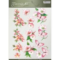 CD10914 - 10 stuks knipvellen - Jeanines Art- With Sympathy -pink flowers