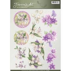CD10913 - 10 stuks knipvellen - Jeanines Art- With Sympathy - Violet flowers