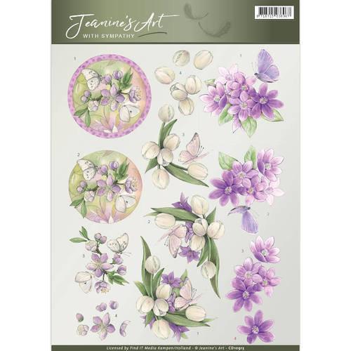 Jeanines Art CD10913 - 10 stuks knipvellen - Jeanines Art- With Sympathy - Violet flowers