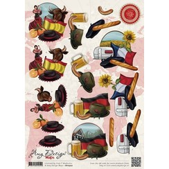 CD10507 - 10 stuks knipvellen - Amy Design Maps 3 landen