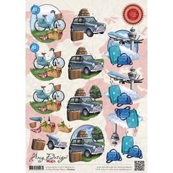 CD10504 - 10 stuks knipvellen - Amy Design - Maps - Vliegvakantie