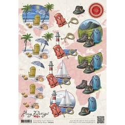 CD10503 - 10 stuks knipvellen - Amy Design - Maps - Vakantie