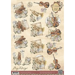 CD10395-HJ11301 - 10 stuks knipvellen - Amy Design - Vintage Christmas Collection - Kerst Instumenten