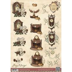 CD10394 - 10 stuks knipvellen - Amy Design - Vintage Christmas Collection - Kerstklokken