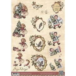CD10393 - 10 stuks knipvellen - Amy Design - Vintage Christmas Collection - Kerstmeisjes
