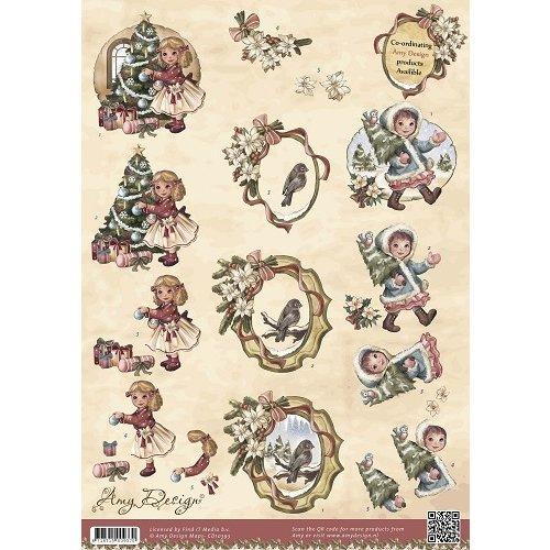 Amy Design CD10393 - 10 stuks knipvellen - Amy Design - Vintage Christmas Collection - Kerstmeisjes