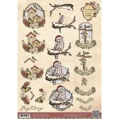 CD10392 - 10 stuks knipvellen - Amy Design - Vintage Christmas Collection - Kerstvogels