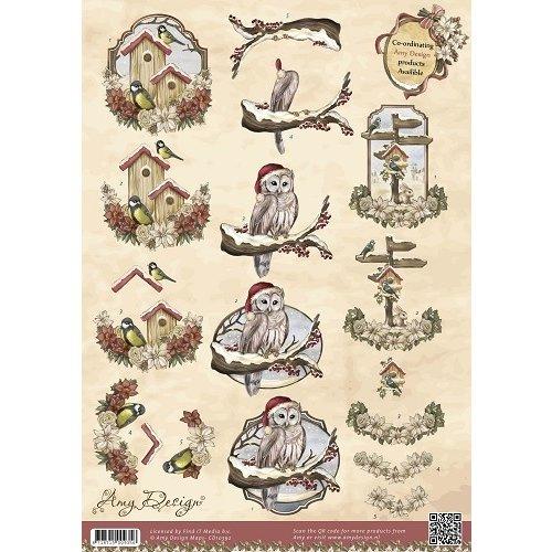Amy Design CD10392 - 10 stuks knipvellen - Amy Design - Vintage Christmas Collection - Kerstvogels