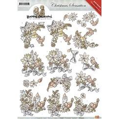 CD10315 - 10 stuks knipvellen - Yvonne Creations - Christmas Sensation - Kerstvogels