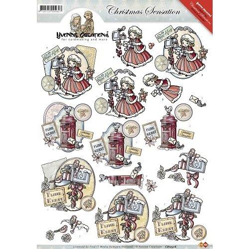 Yvonne Creations CD10316 - 10 stuks knipvellen - Yvonne Creations - Christmas Sensation - Kerstbrieven