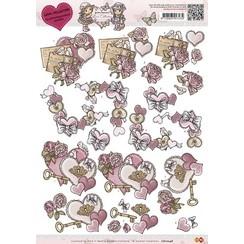CD10248 - 10 stuks knipvellen - Yvonne Creations - Love Collection - Vintage heart