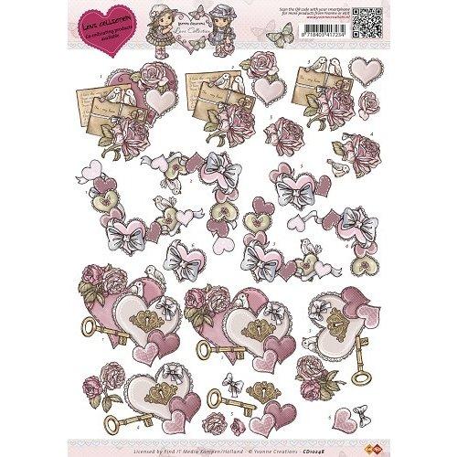 Yvonne Creations CD10248 - 10 stuks knipvellen - Yvonne Creations - Love Collection - Vintage heart