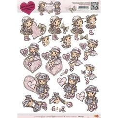CD10247 - 10 stuks knipvellen - Yvonne Creations - Love Collection - Valentine girl