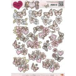 CD10246 - 10 stuks knipvellen - Yvonne Creations - Love Collection - Butterfly