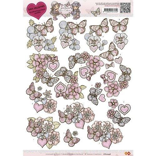 Yvonne Creations CD10246 - 10 stuks knipvellen - Yvonne Creations - Love Collection - Butterfly