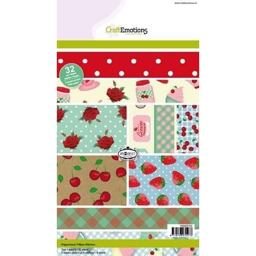 CraftEmotions 118040/0102 - CraftEmotions Paper stack Fifties Kitchen 32 vel A5