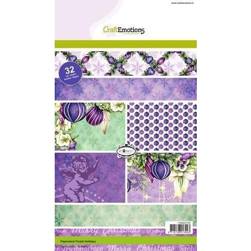 CraftEmotions 118040/0105 - CraftEmotions Paper stack Purple Holiday 32 vel A5