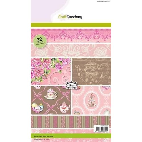 CraftEmotions 118040/0106 - CraftEmotions Paper stack High Tea Rose 32 vel A5