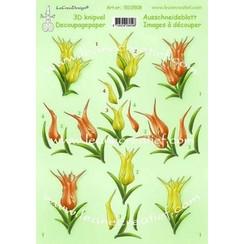 50.0508 - LeCrea - 3D knipvellen Tulips  A4 08  10 vellen