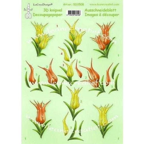 Leane Creatief 50.0508 - LeCrea - 3D knipvellen Tulips  A4 08  10 vellen