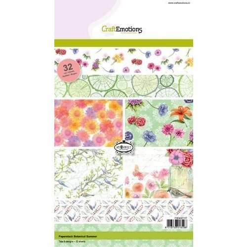 CraftEmotions 118040/0107 - CraftEmotions Paper stack Botanical Summer 32 vel A5