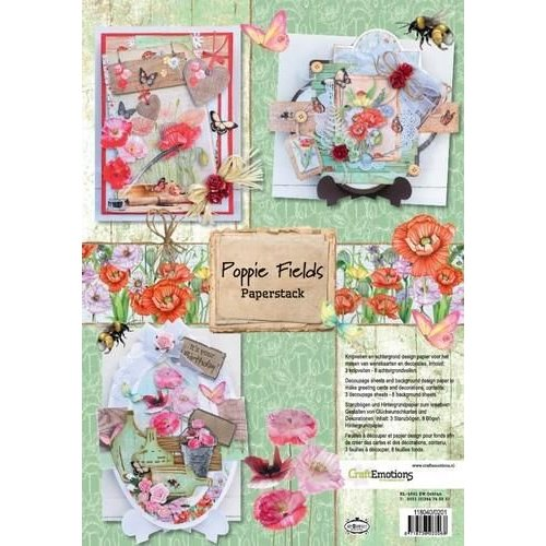 CraftEmotions 118040/0201 - CraftEmotions Paper stack Poppie fields 11 vel A4