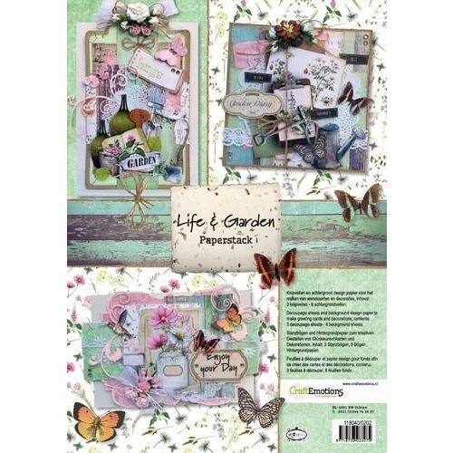 CraftEmotions 118040/0202 - CraftEmotions Paper stack Life and Garden 11 vel A4