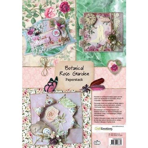 CraftEmotions 118040/0203 - CraftEmotions Paper stack Botanical Rose Garden 11 vel A4